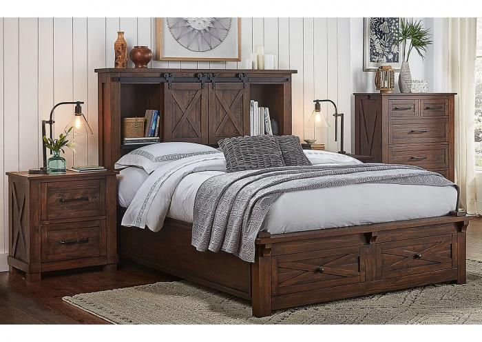 Sun Valley Solid Pine Storage Bed (available in Rustic ...