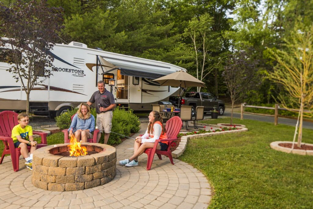 RV Patio site at the Quechee/Pine Valley KOA Holiday ...