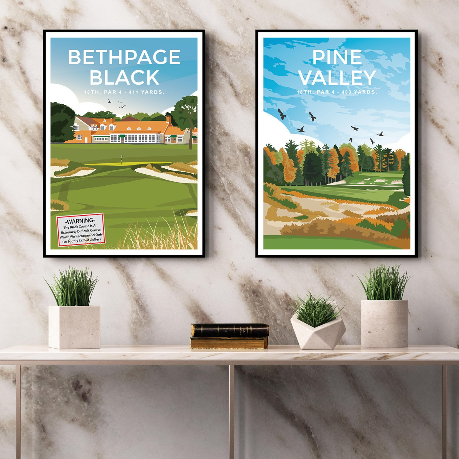 Pine Valley Golf Club 18th Hole Golf Print Poster ...