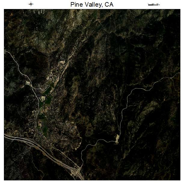 Aerial Photography Map of Pine Valley, CA California