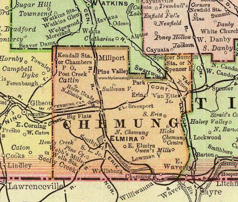 Chemung County, New York, 1897, Map, Rand McNally, Elmira ...
