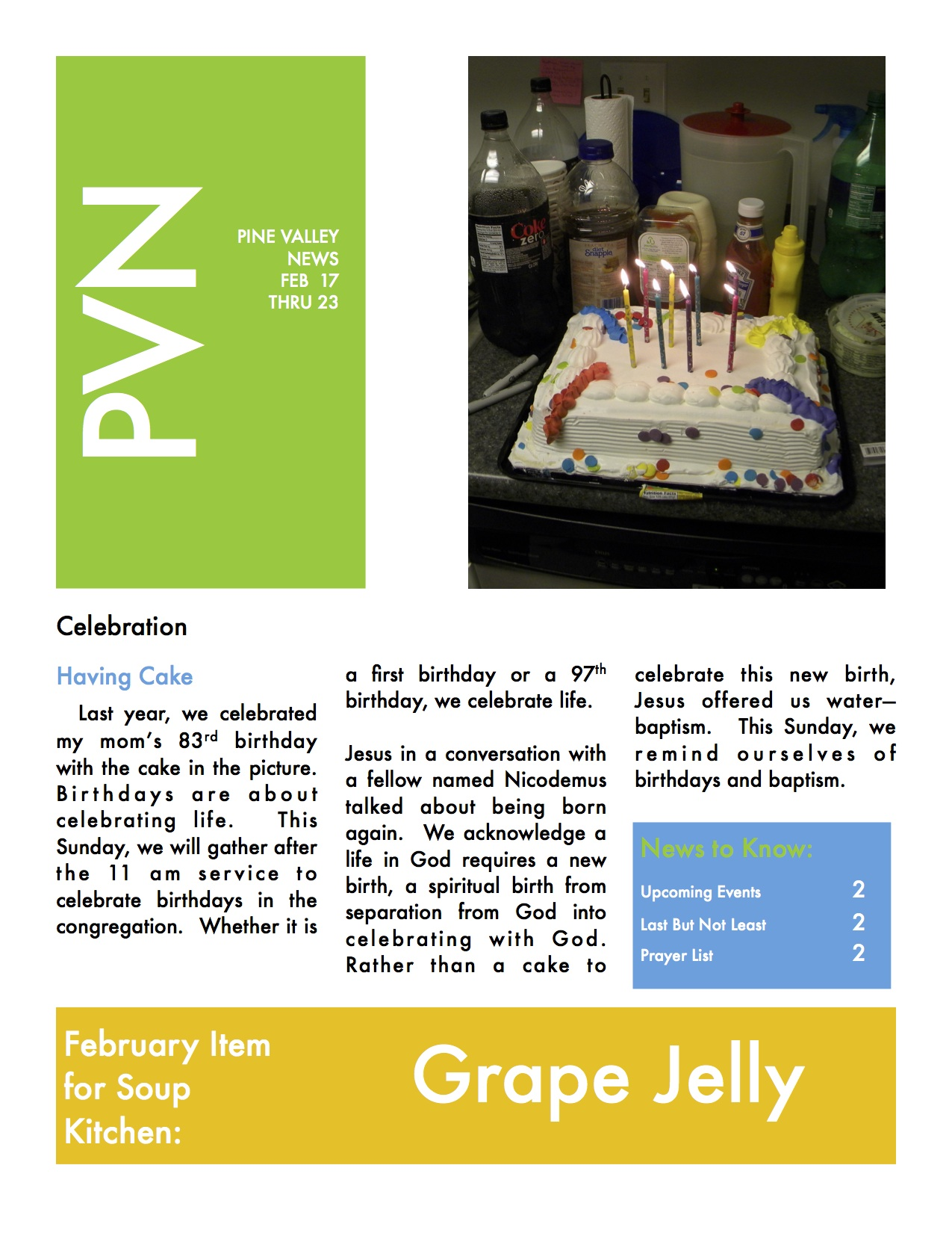 Pine Valley News for Week of February 17 through 23, 2014 ...