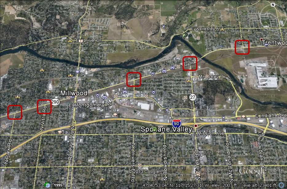 Spokane Valley, WA: Evergreen Road, Pines Road, University ...